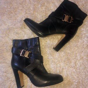 Vince Camuto Leather Booties (Chunky Heel)